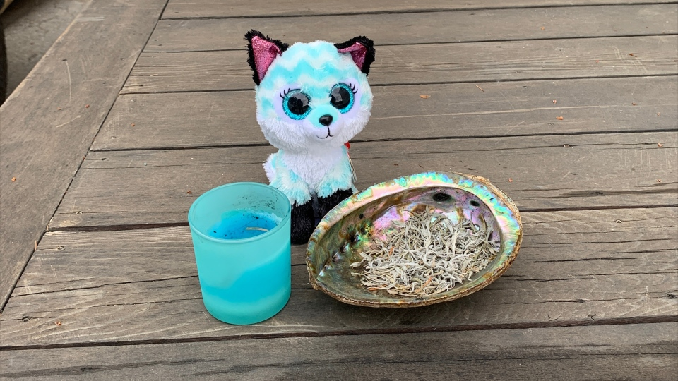Smudge bowl, candle and toy