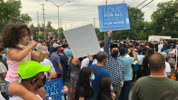 Thousands attend a vigil for the Afzaal family in London, Ont. on June 8, 2021. (Nick Paparella/CTV London)