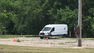 London police investigate a suspicious death in the area of Nelson and Colborne Street on June 9, 2021. (Jordyn Read/CTV London)