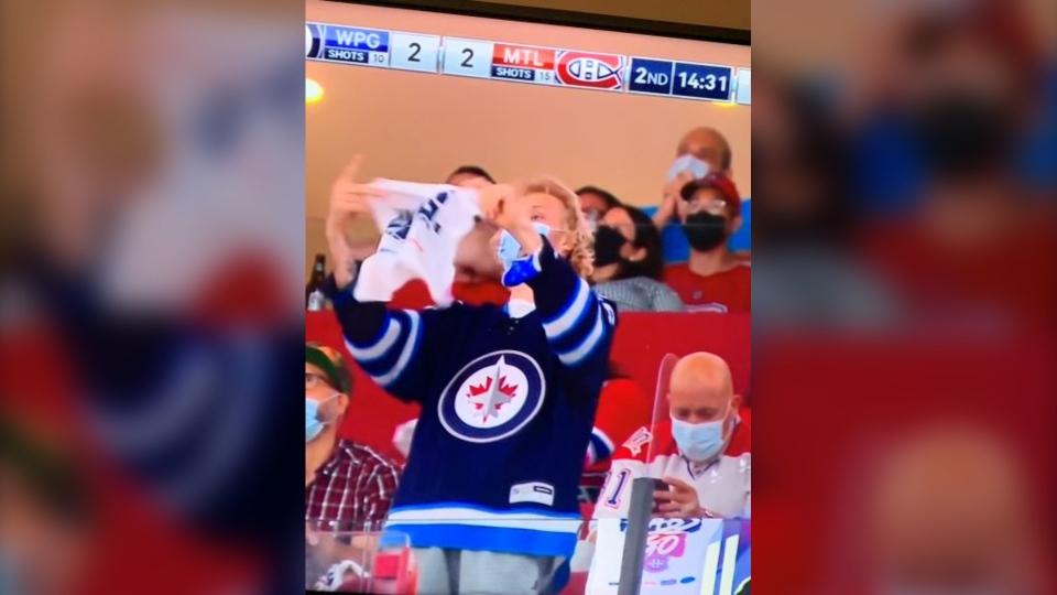 Jets fan on big screen