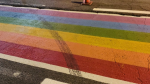 Ontario Provincial Police say the new Pride crosswalk in Kemptville was damaged Tuesday evening. (Photo courtesy: Twitter/OPP_ER)