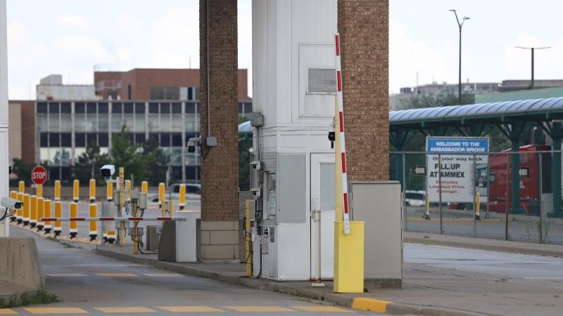 Canada-US Border at the Ambassador Bridge in Windsor, Ont. on Wednesday, June 9, 2021. (Melanie Borrelli/CTV Windsor)
