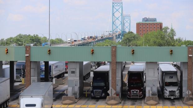Trucks at the Ambassador Bridge Canada-US border crossing in Windsor, Ont. on Wednesday, June 9, 2021. (Melanie Borrelli/CTV Windsor)