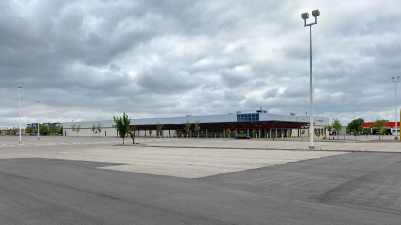 Regina's old Costco building is seen in this image. The site is set to be turned into a car dealership. (Gareth Dillistone/CTV News)