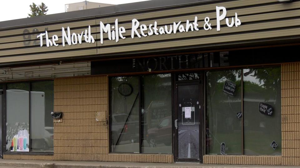 Saskatoon police found eight bullet holes in The North Mile Restaurant & Pub on Sunday. (Pat McKay/CTV Saskatoon)