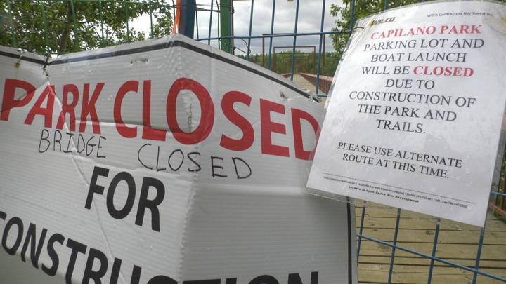 Capilano footbridge is closed for construction.