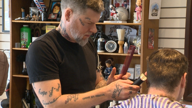 Hunter and Gunn Barbershop owner Jeremy Regan, pictured here in October 2017, has decided to start offering 'yard calls' to clients under new public health orders in Manitoba. (Source: CTV News Winnipeg)