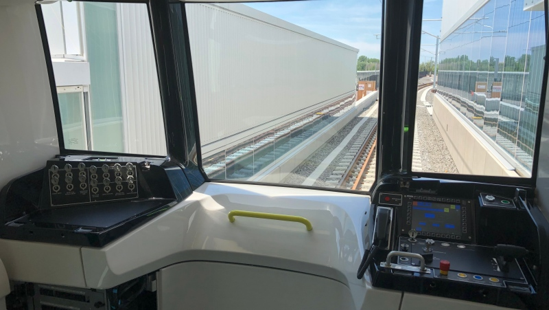 Montreal's new electric commuter train, the REM, as it undergoes testing.