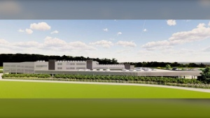 A rendering of the proposed warehouse is shown: June 10, 2021 (York Realty)