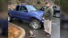 Terry Mazzei had just arrived in a parking lot when lightning struck his truck, blowing out a front tire. (Wendy Mazzei)