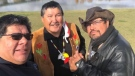 Tomas Mcdermott (left), PAGC Grand Chief Brian Hardlotte (centre) and James Sewap (right) in June 2020. (Tomas Mcdermott/Submitted)
