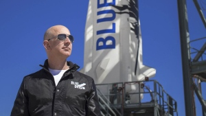 Jeff Bezos at New Shepard's West Texas launch facility before the rocket's first flight in 2015. (Blue Origin)