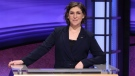 """In this image provided by Jeopardy Productions, Inc., guest host Mayim Bialik appears on the set of """"Jeopardy!"""" (Carol Kaelson/Jeopardy Productions, Inc. via AP)"""