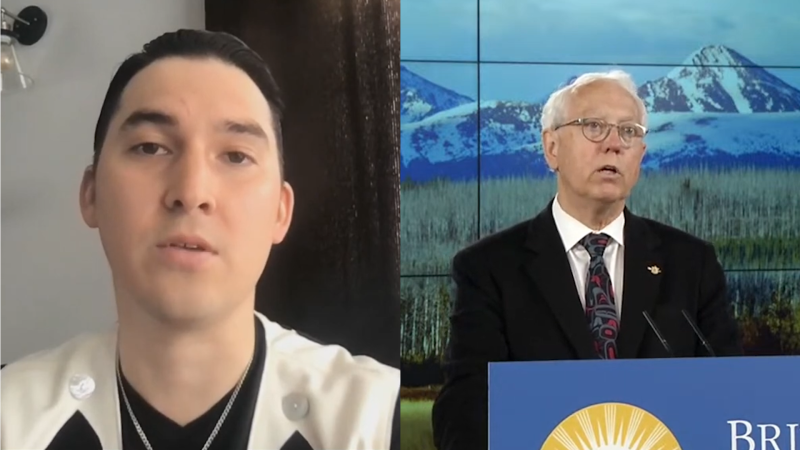 Tahltan Central Government President Chad Norman Day and BC Indigenous Relations and Reconciliation Minister Murray Rankin at today's press conference announcing the news about the agreement.