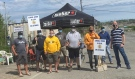 At the picket lines across the Sudbury area Thursday, striker Vale workers were collecting cash donations for the Sudbury Food Bank. (Alana Everson/CTV News)