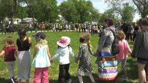 Students at Prairie Sky School participate in a traditional circle dance (Mackenzie Read/CTV Regina)