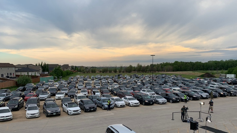 About 250 vehicles pack into the parking of the Winnipeg Grand Mosque on June 10, 2021, for a drive-in vigil for the members of the Afzaal family killed in an attack in London, Ont. (Source: Danton Unger/ CTV News Winnipeg)