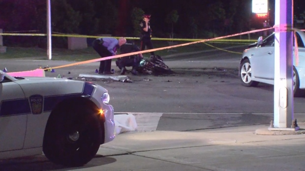 A motorcyclist is dead following a collision in Brampton Thursday night.