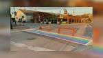 Rainbow crosswalk in Collingwood