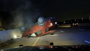 Pregnant woman's car flips over during pursuit