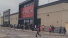 Lineup outside Winners and Homesense in Sudbury just before 10 a.m. June 11/21 (Taylor-Anne Pilotte)