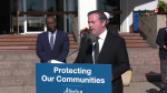 Premier Jason Kenney and Justice Minister Kaycee Madu announced up to $100,000 in funding available to targeted religious and cultural organizations to buy security equipment at Al Rashid Mosque on June 11, 2021.
