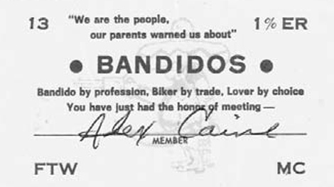 Alex Caine�s official Bandidos membership card. (Befriend and Betray: Infiltrating the Hells Angels, Bandidos and Other Criminal Brotherhoods, Random House Canada)