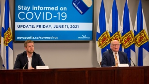 Nova Scotia Premier Iain Rankin and Dr. Robert Strang, chief medical officer of health, give an update on the province's COVID-19 situation on June 11, 2021. (Photo courtesy Communications Nova Scotia)