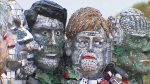 A protest meant to attract the attention of G7 leaders, dubbed Mount Recyclemore, is made from e-waste. (CTV News)