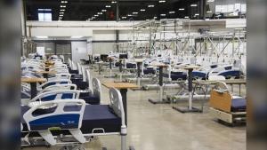 Hospital beds are seen at a Saskatchewan Health Authority field hospital at the International Trade Centre in Regina. (Source: Saskatchewan Health Authority)
