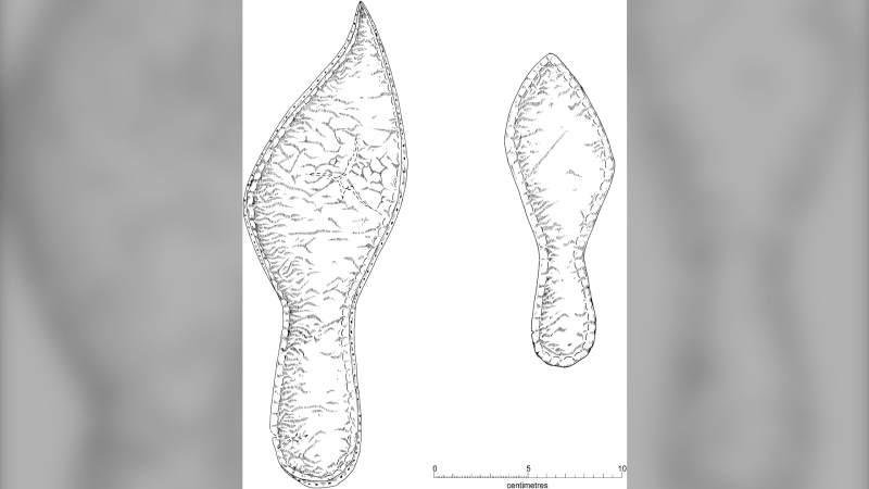 This illustration of the sole of an adult's shoe from late 14th century Cambridge depicts a pointed-toe shape. (Photo courtesy University of Cambridge)