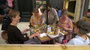 A group of ladies enjoy lunch on the patio at 1000 Islands Brewing Co. on Friday. Nate Vandermeer/CTV News Ottawa)