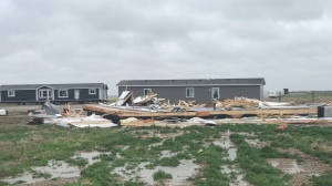 A mobile home built by Minard's Steadfast Homes in Weyburn was destroyed by a windstorm on June 10, 2021. (Stefanie Davis/CTV News)
