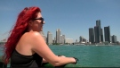 Maciejka Gorzelnik stares across the Detroit River at Belle Isle, which is hosting the Detroit Grand Prix, on June 11, 2021. (Rich Garton / CTV Windsor)