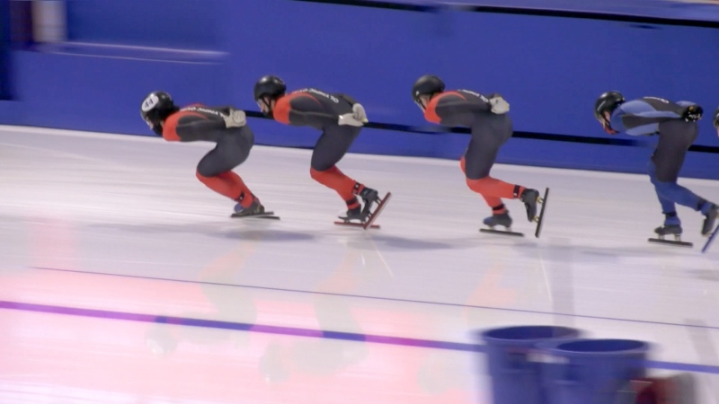 Members of the Canadian speed skating team are back on the ice at the Olympic Oval following a 12-month shutdown due to COVID-19 and mechanical problems.