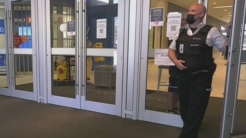 Mall customers stopped at doors