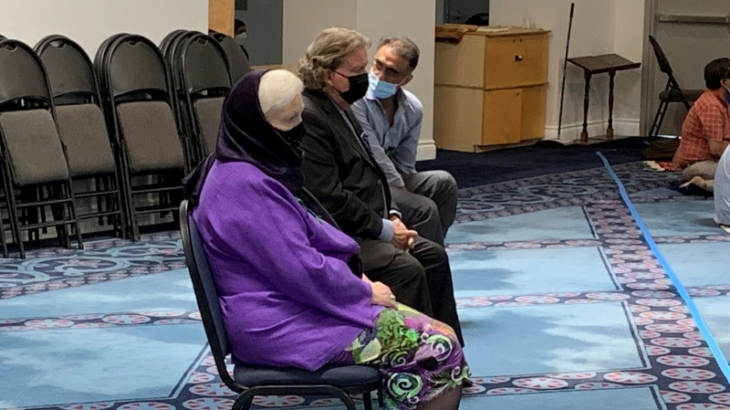 Ontario Lieutenant Governor Elizabeth Dowdeswell attending prayer services at the London Muslim Mosque on June 11, 2021. (Bryan Bicknell/CTV London)
