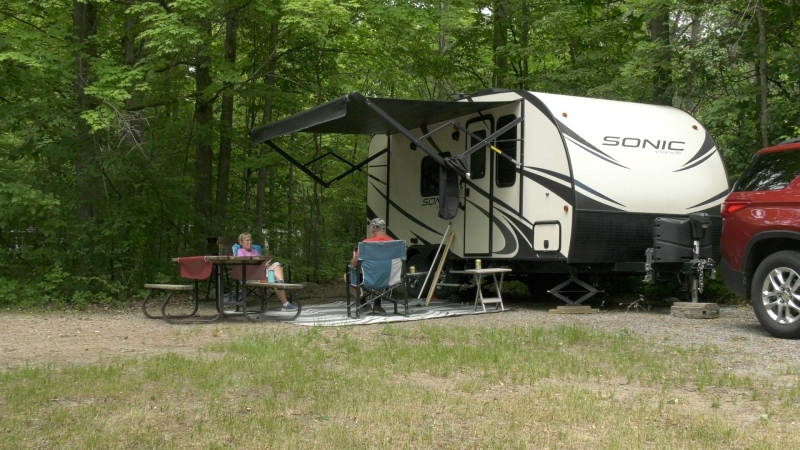 Campers arrive at Fitzroy Provincial Park on Friday for the first day of the camping season. (Dylan Dyson/CTV News Ottawa)
