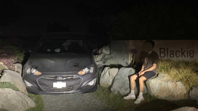 A car is seen wedged between boulders on a pedestrian walkway at Blackie Spit in Surrey, B.C. (Handout)