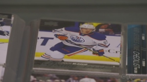 A near-mint condition Connor McDavid rookie card is among Don Preston's favourite cards in his entire collection. (Craig Momney/CTV News)