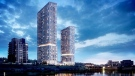A rendering of a proposal from Pearle Hospitality, the owners of the Cambridge Mill, to build a 28-storey hotel and 37-storey condo building in downtown Cambridge. (Supplied)