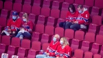 Fans sit in their seats at the Bell Centre prior to an NHL Stanley Cup playoff game between the Montreal Canadiens and Toronto Maple Leafs in Montreal, Saturday, May 29, 2021. THE CANADIAN PRESS/Graham Hughes