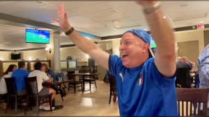 Friday afternoon's match between Italy and Turkey allowed for a crowd of 50 Calgarians to enjoy lunch and watch the game indoors.