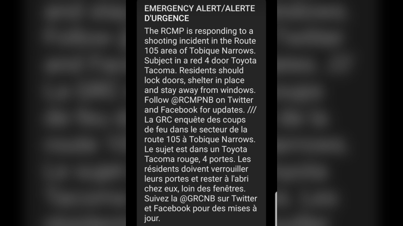 A screen capture of the emergency alert sent out by the New Brunswick RCMP on Friday (SUBMITTED)