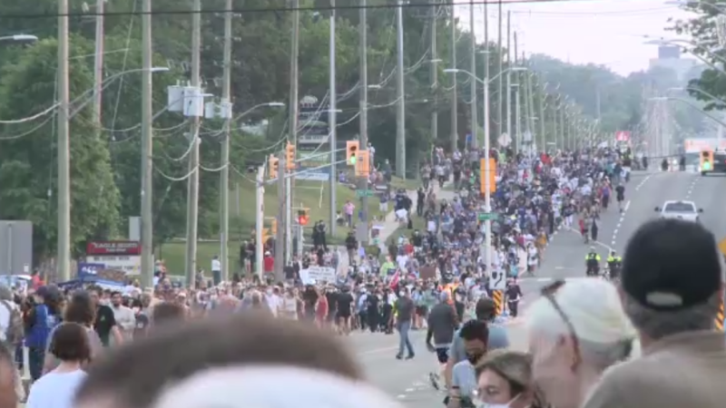 Thousands took part in a march to end hatred Friday evening in London. ( Jim Knight / CTV News)