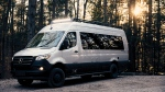 The Airstream Interstate 24X has knobby ties, four-wheel-drive and an off-road light bar. (Airstream/CNN)