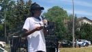 Jessica Williams-Daley read a poem at the West Island Rally to denounce racism on June 12, 2021.
