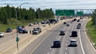 Collision investigators can be seen as Whitemud Drive westbound lanes between 66 Street and 91 Street is reduced to one lane (CTV News Edmonton/Brandon Lynch)