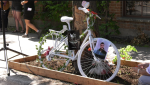 A ghost bike was installed for Maxime Levesque, who was killed by a car on Papineau Ave. on April 8, 2021.