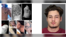 Robert Labrecque, 20, and photos of his tattoos. (courtesy Windsor Police Service)